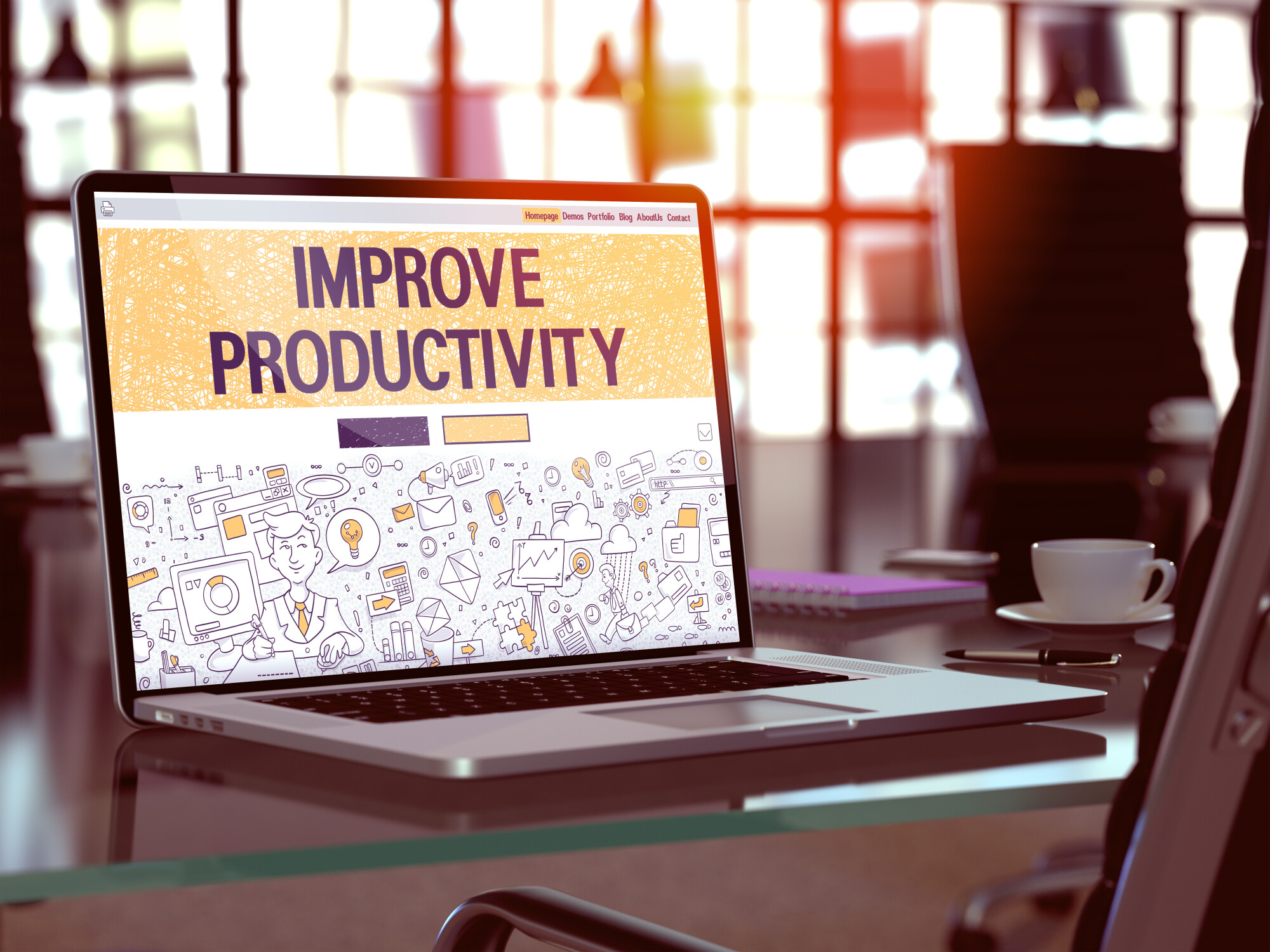 Improve Productivity - Closeup Landing Page in Doodle Design Style on Laptop Screen. On Background of Comfortable Working Place in Modern Office. Toned, Blurred Image.  3D Render.