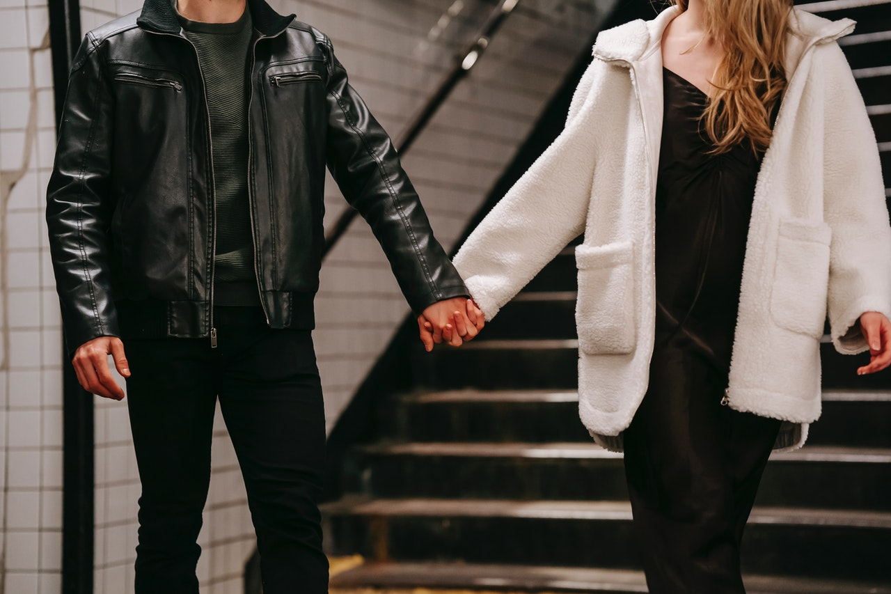 Woman Man Holding Hands Stock