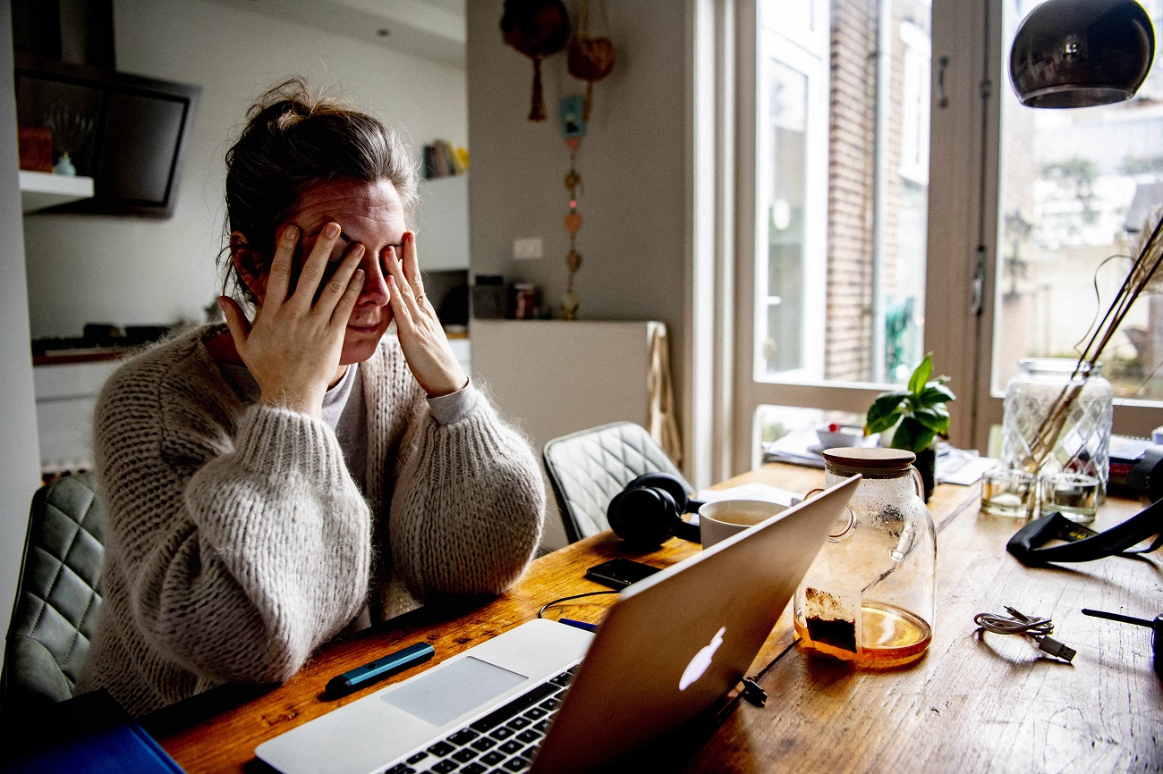 A woman is working at home during the second wave's new measures of COVID-19 pandemic, in The Hague, Netherlands, on January 29, 2021. The anxiety and stress burnout working at home. Photo by Robin Utrecht/ABACAPRESS.COMNo Use Netherlands. No Use Germany.