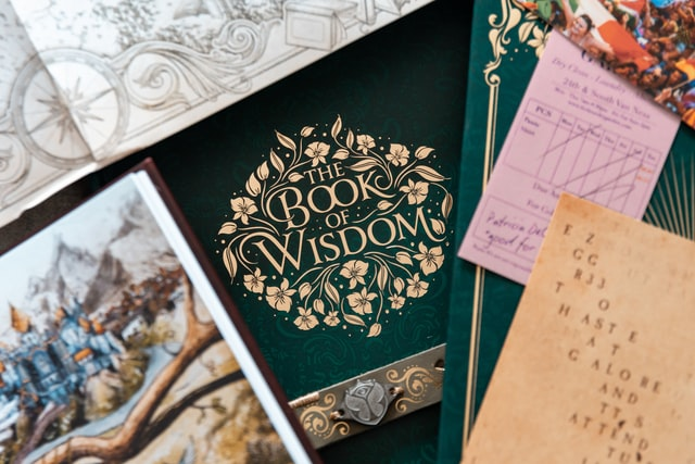 Ornate book cover with the title Book of Wisdom