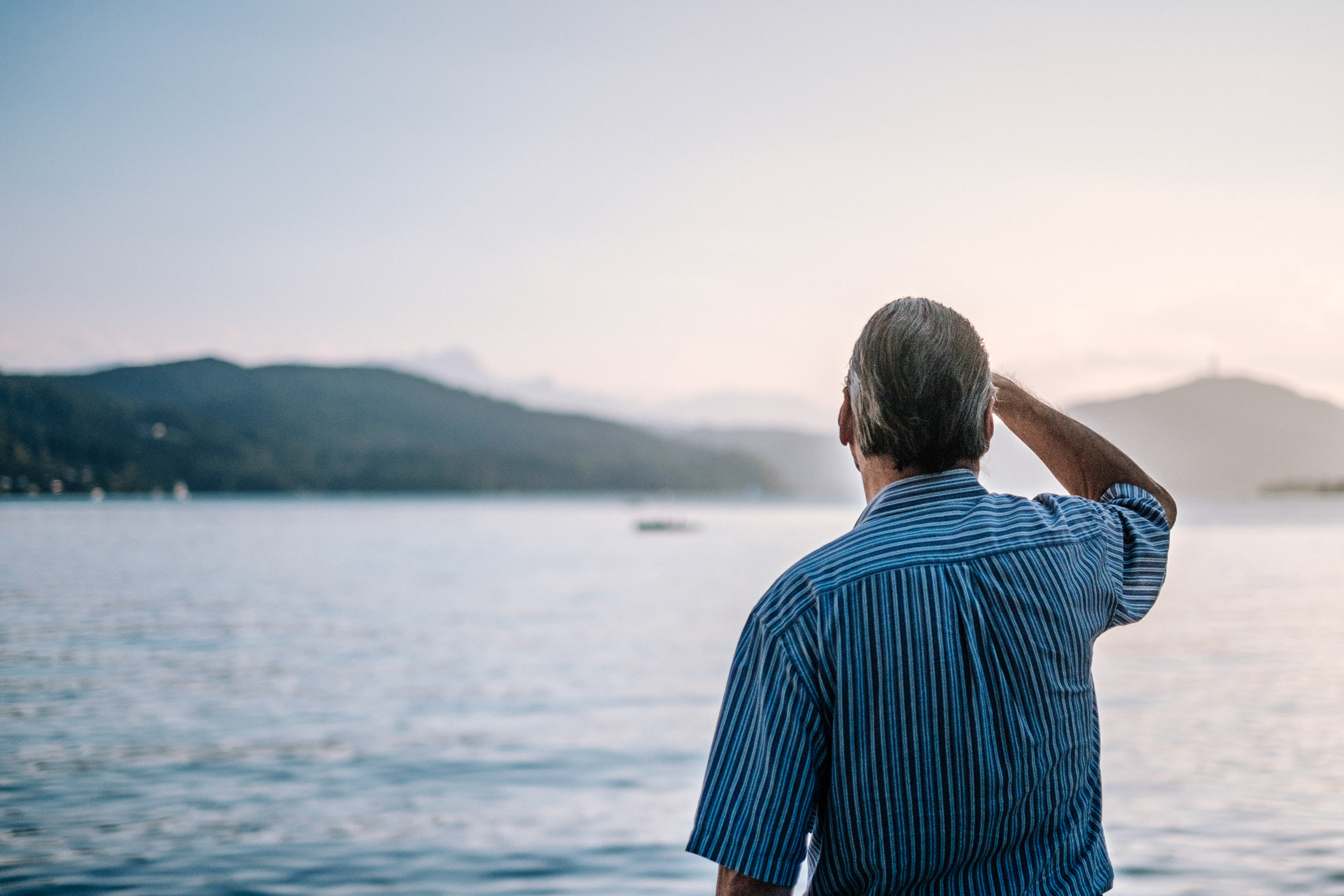 Man stares out at ocean