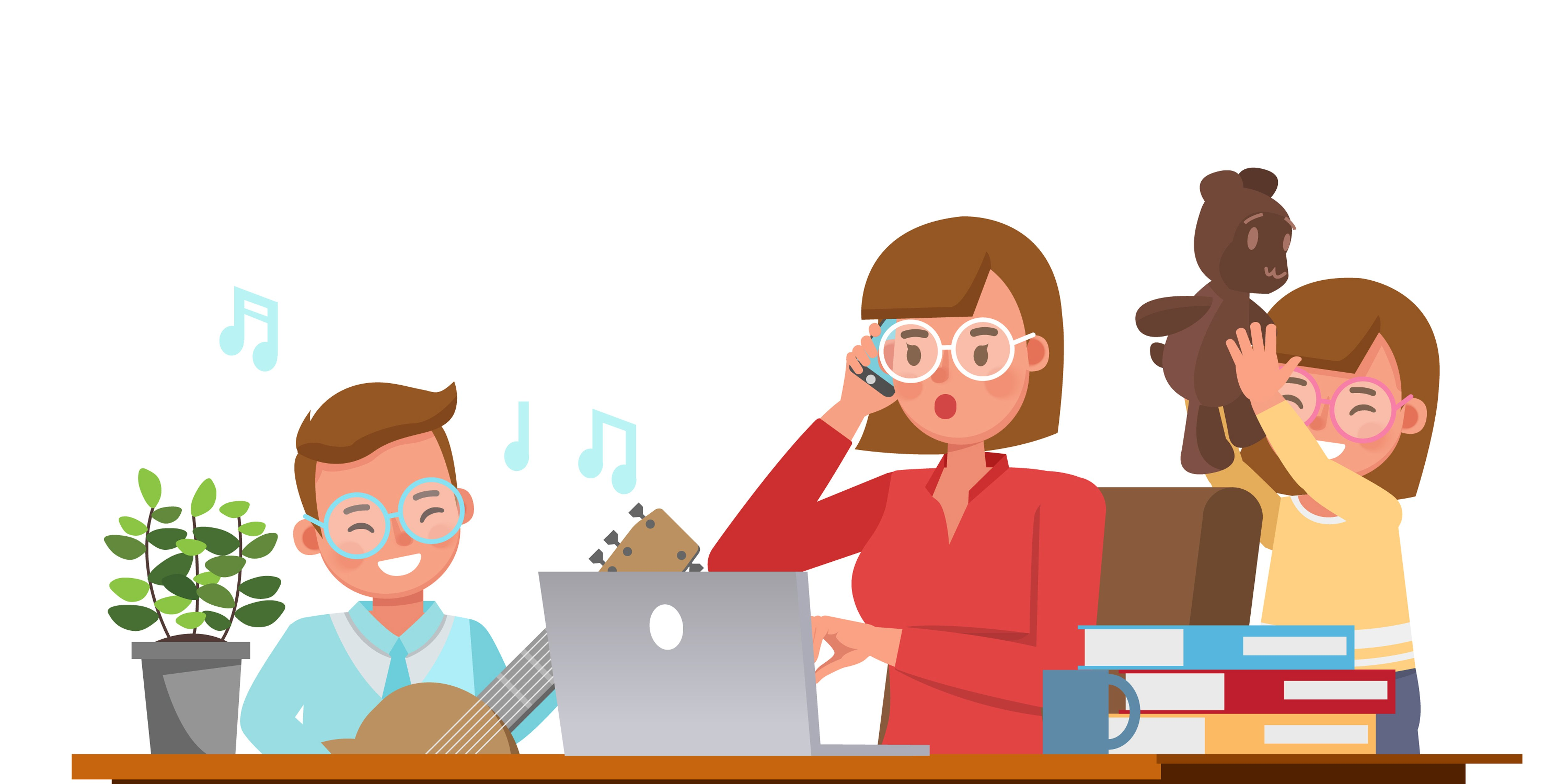 Mother working from home with kids character vector design. Social distancing and self-isolation concept.