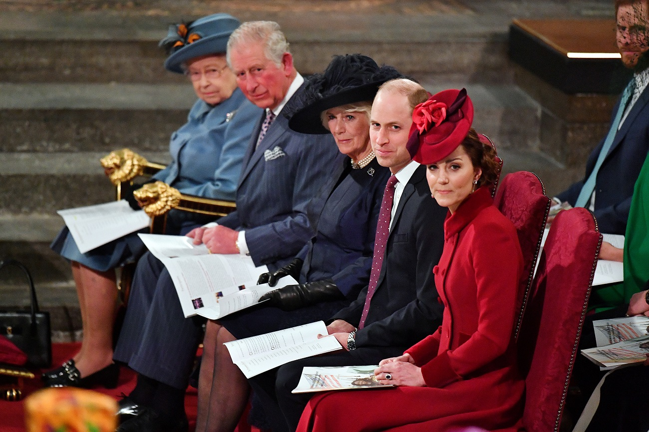 FILE PHOTO: Britain's Queen Elizabeth II, Prince Charles, Camilla, Duchess of Cornwall, Prince Harry and Meghan, Duchess of Sussex, and Prince William and Catherine, Duchess of Cambridge attend the annual Commonwealth Service at Westminster Abbey in London, Britain March 9, 2020. Phil Harris/Pool via REUTERS/File Photo