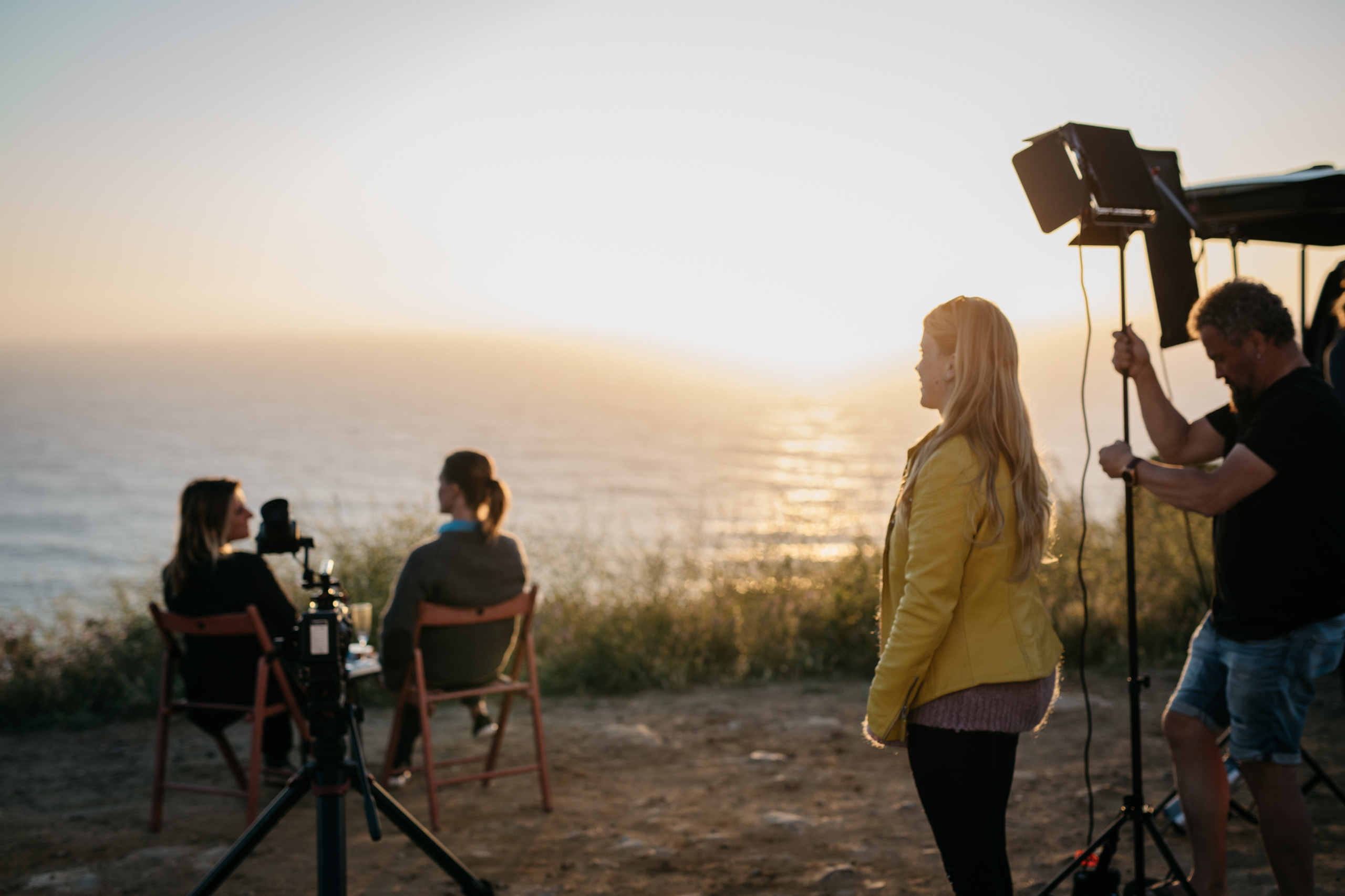 Minna Dufton and crew on set of BIG vs SMALL in Ericeira, Portugal.