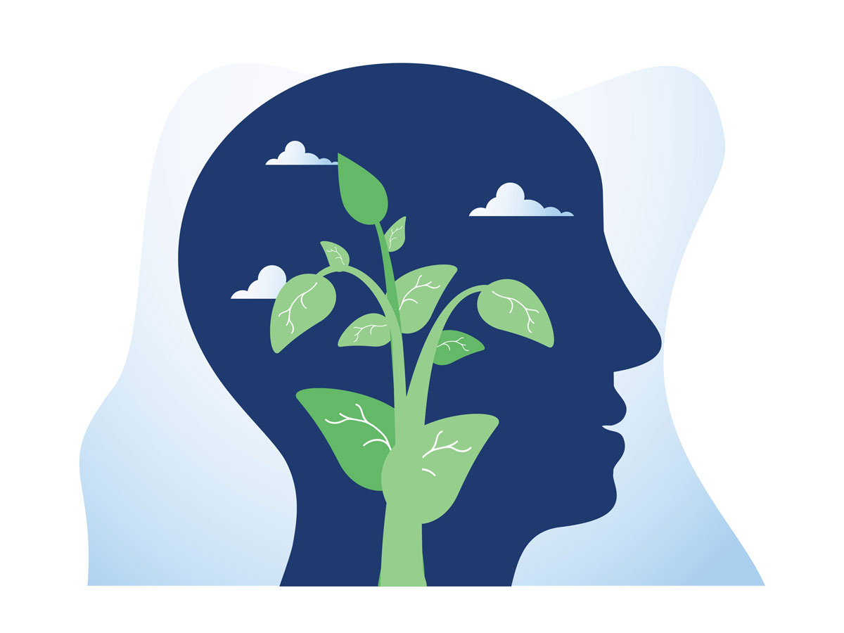 Vector image of a mind blooming full of possible purposes.