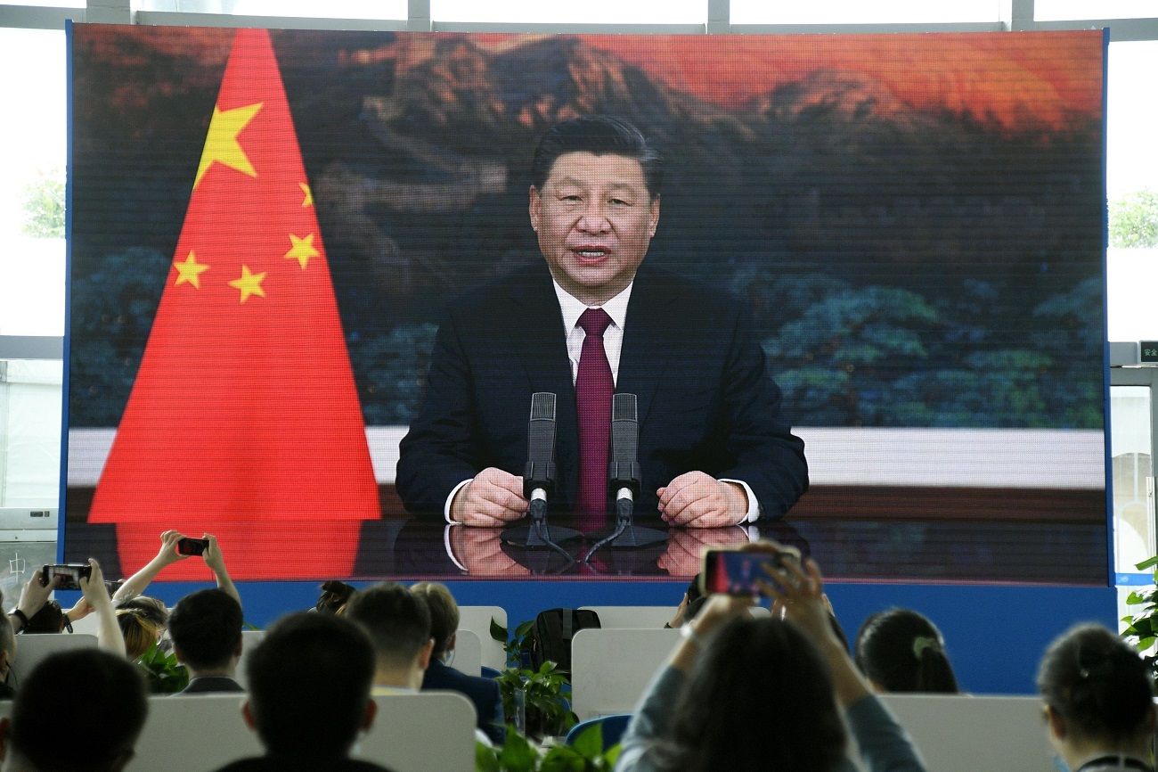 A large screen in a press center in China's southern island province of Hainan shows the country's president, Xi Jinping, giving an online speech at the Boao Forum for Asia on April 20, 2021. (Kyodo) ==Kyodo NO USE JAPAN