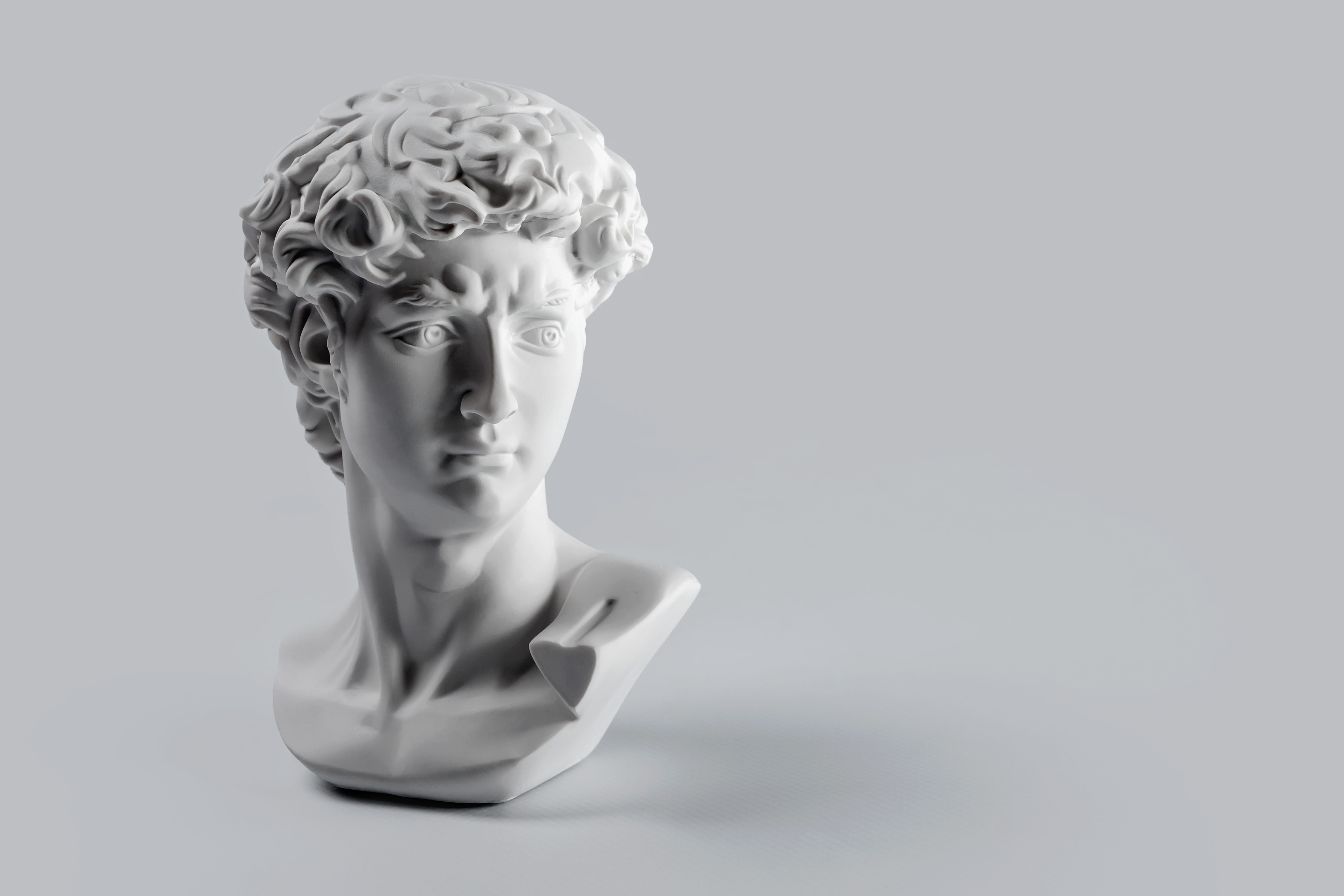 Gypsum statue of David's head. Michelangelo's David statue plaster copy on grey background with copyspace for text. Ancient greek sculpture, statue of hero.