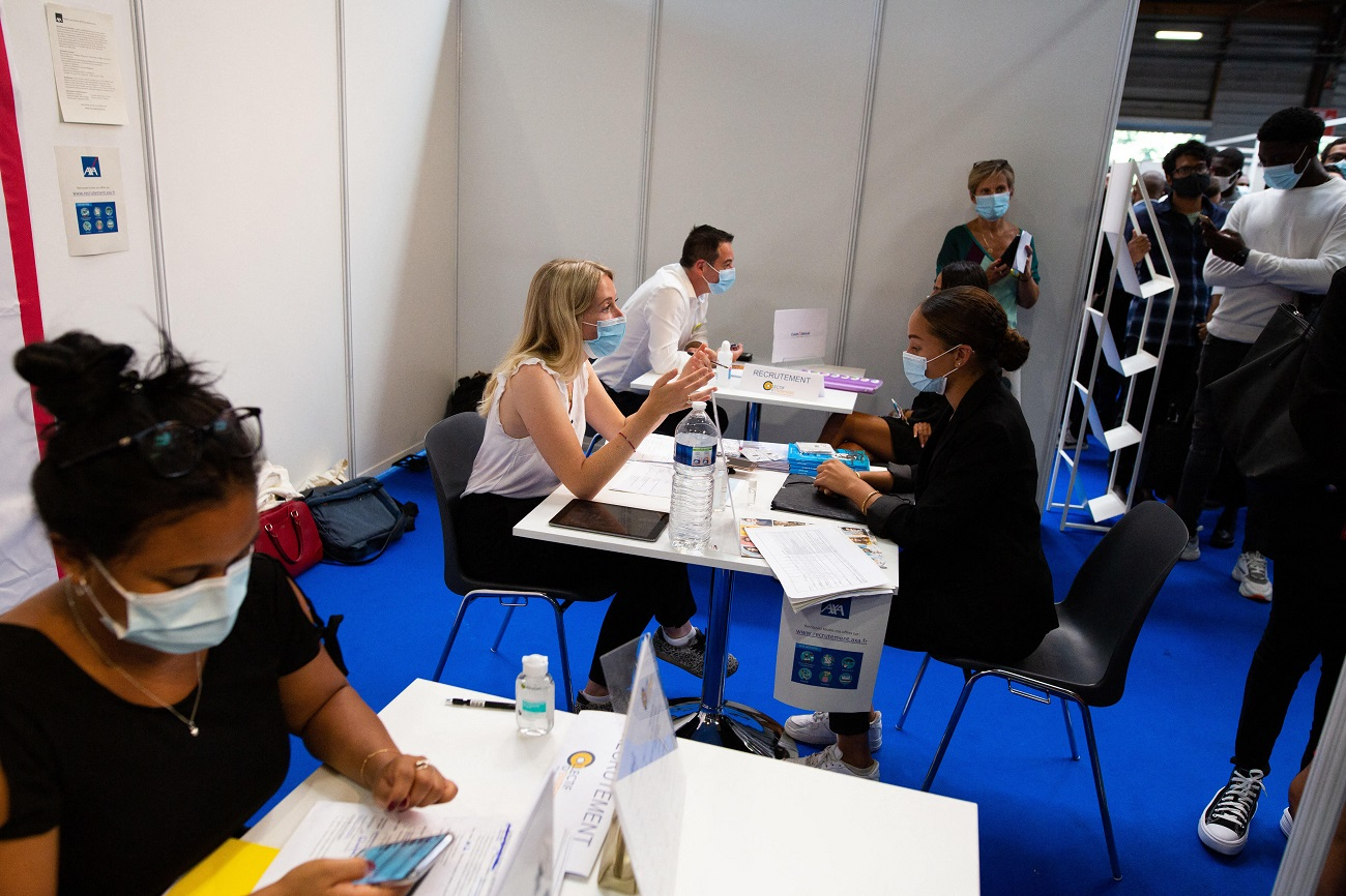 Young people during jobs interviews. French prime minister visits the Salon Jeunes d Avenirs where young people meet with companies to find jobs. On september 15, 2020 in Paris, France.