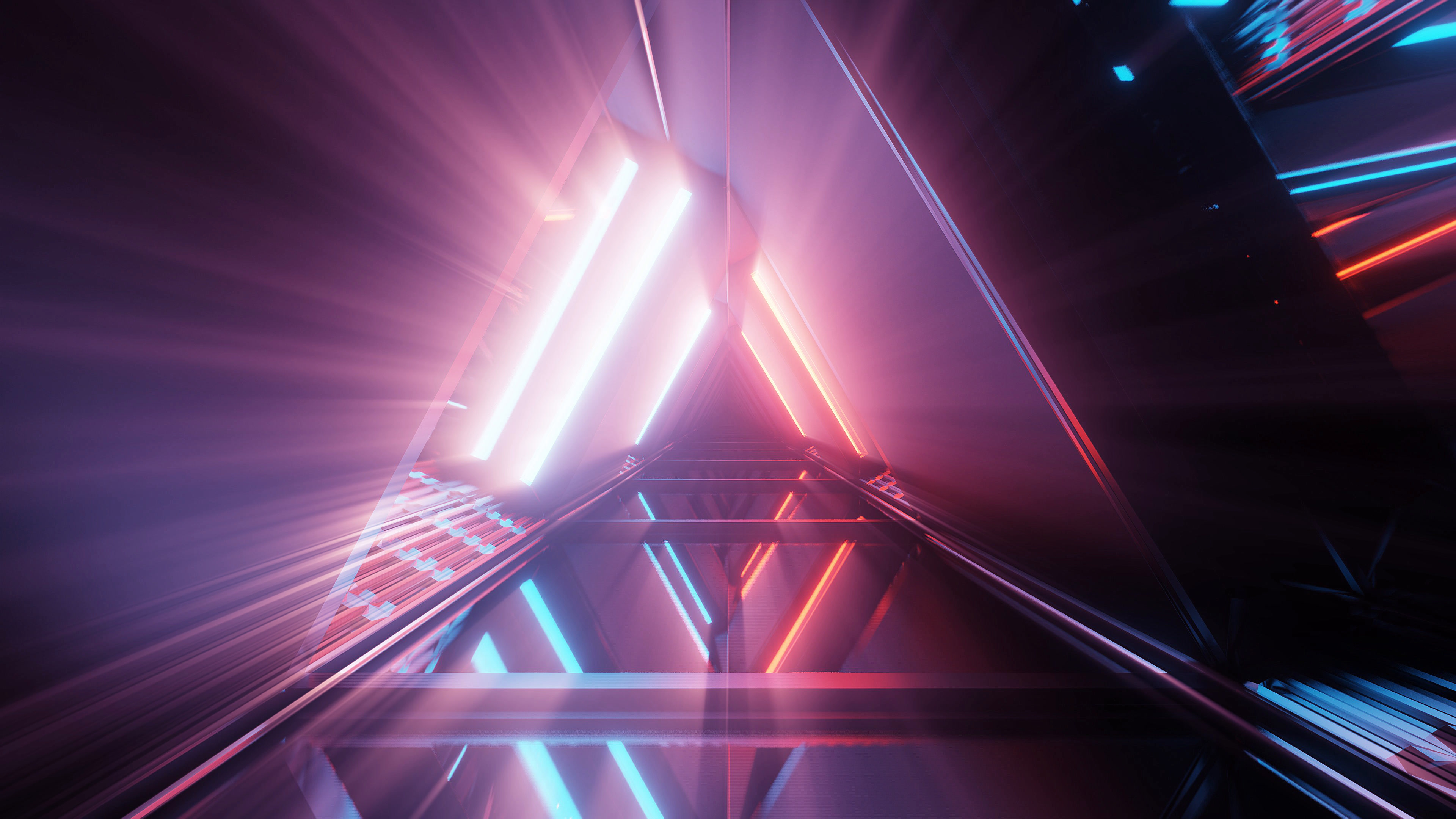 A portal of beautiful neon lights with glowing purple and blue lines in a tunnel - great for an abstract background