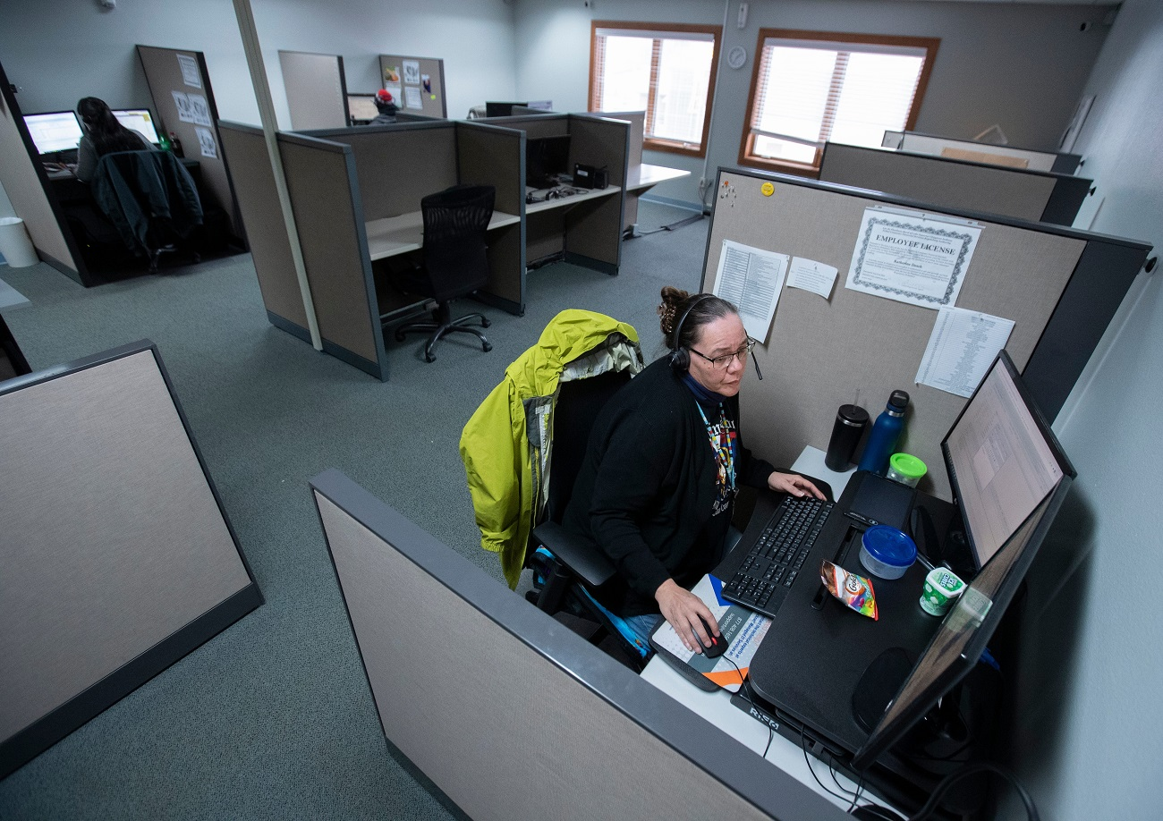 Katherine Desch works at a loan processing center on the Lac du Flambeau Reservation in Vilas County. The center's work is supported by high-speed internet service, creating jobs, yet some parts of the reservation and surrounding area still struggle with not having a high-speed connection.BROADBAND.KENTUCKY12p7