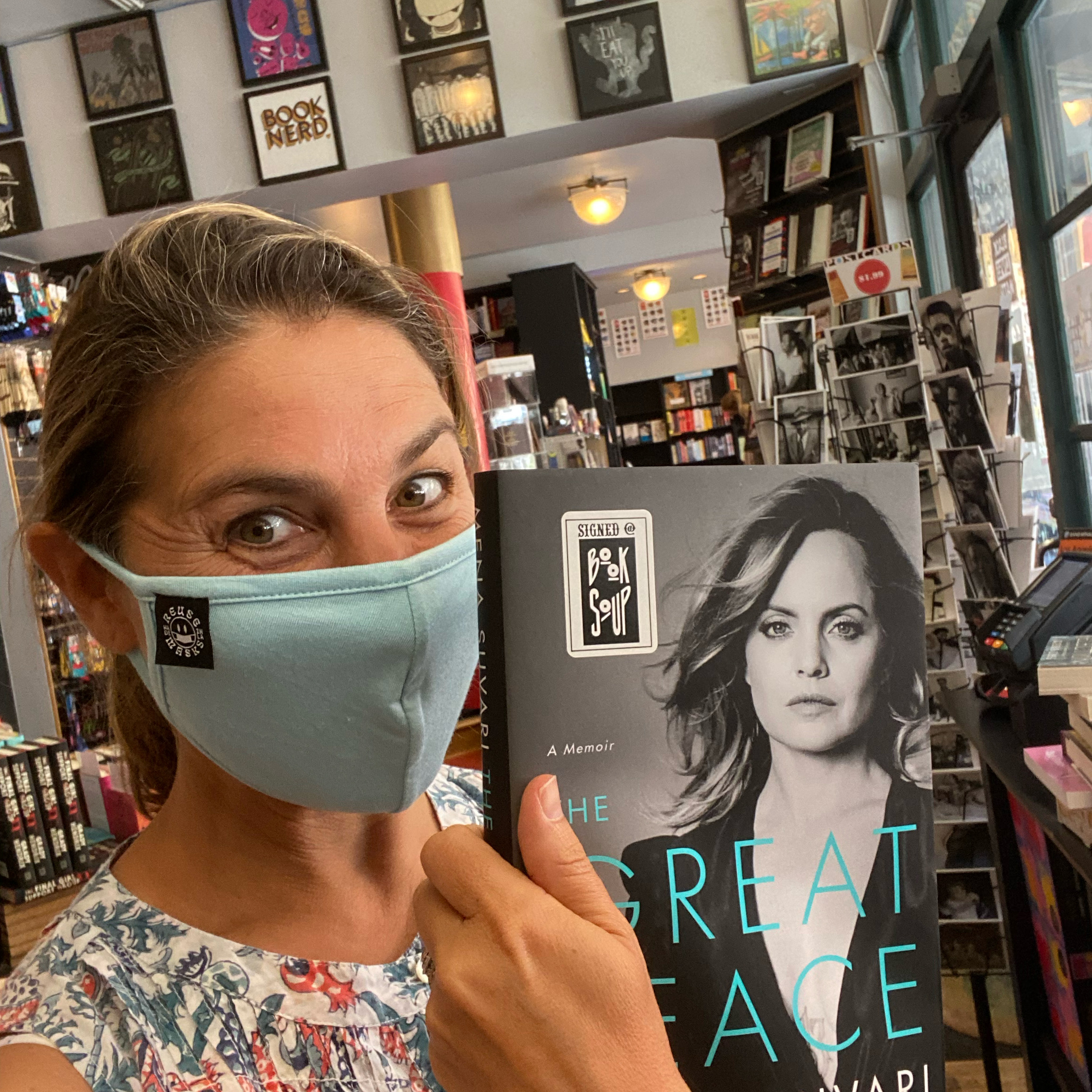 Wearing a mask in Book Soup.