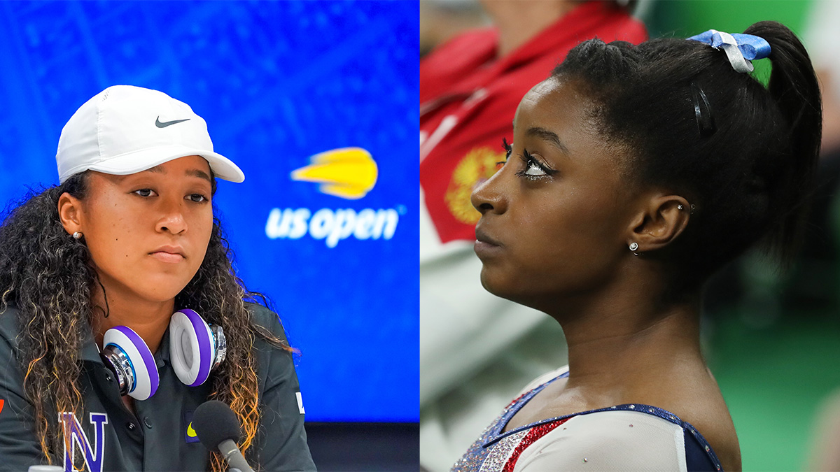 American gymnast Simone Biles (pictured right) has withdrawn from Thursday's individual all-around competition after previously stepping back from the team finals. Before this, Japanese tennis player Naomi Osaka (pictured left) took a mental health break after paying $15,000 for skipping her post-game press conference. Photos courtesy Leonard Zhukovsky / Shutterstock.com