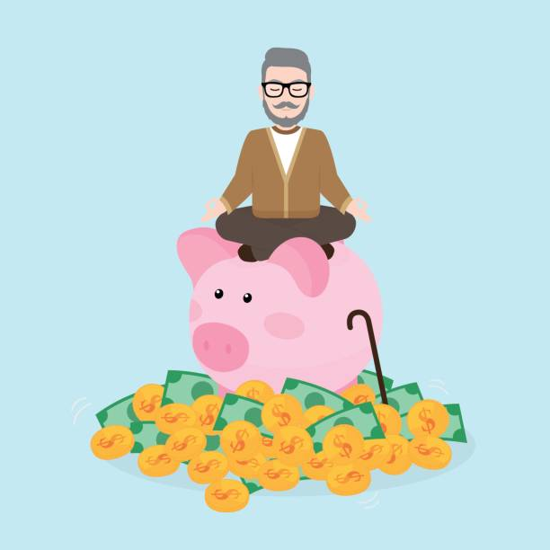 Old man meditates on piggy bank with a pile of coins and bank note, Pension