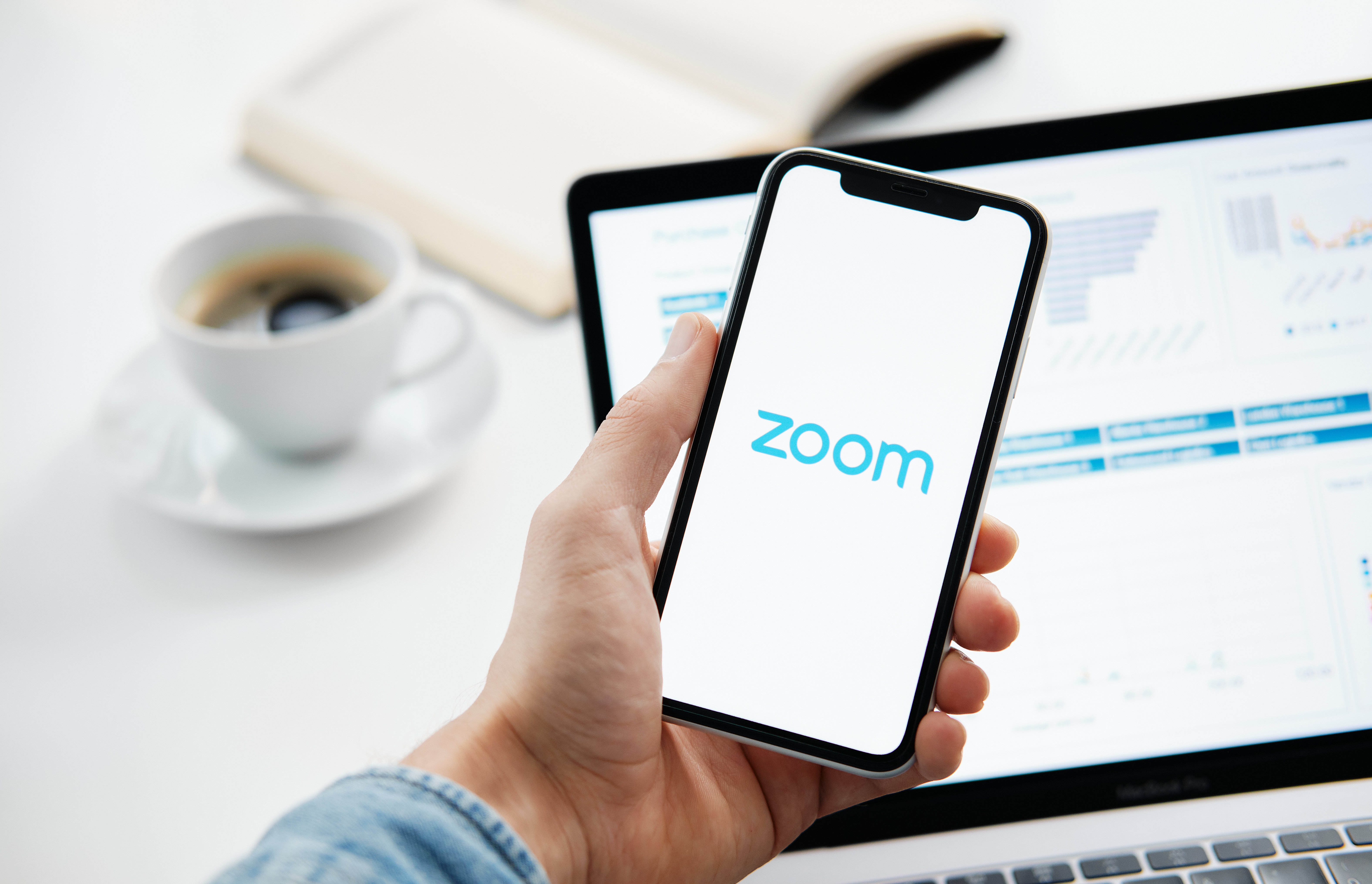 Tyumen, Russia - March 25, 2020: ZOOM Cloud Meetings. Video conferencing software. Video calling and communications