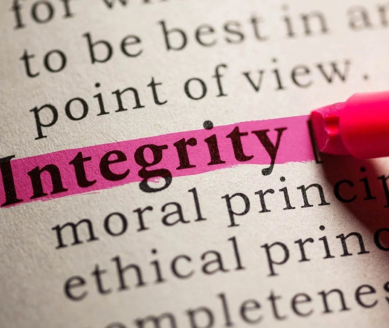 Integrity highlighted word